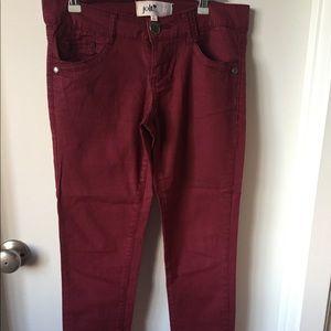 Burgundy Low Rise Skinny Jean